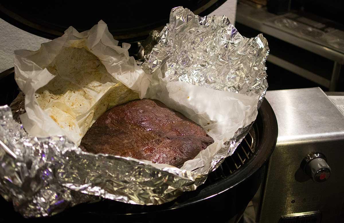 American BBQ steak in alufolie