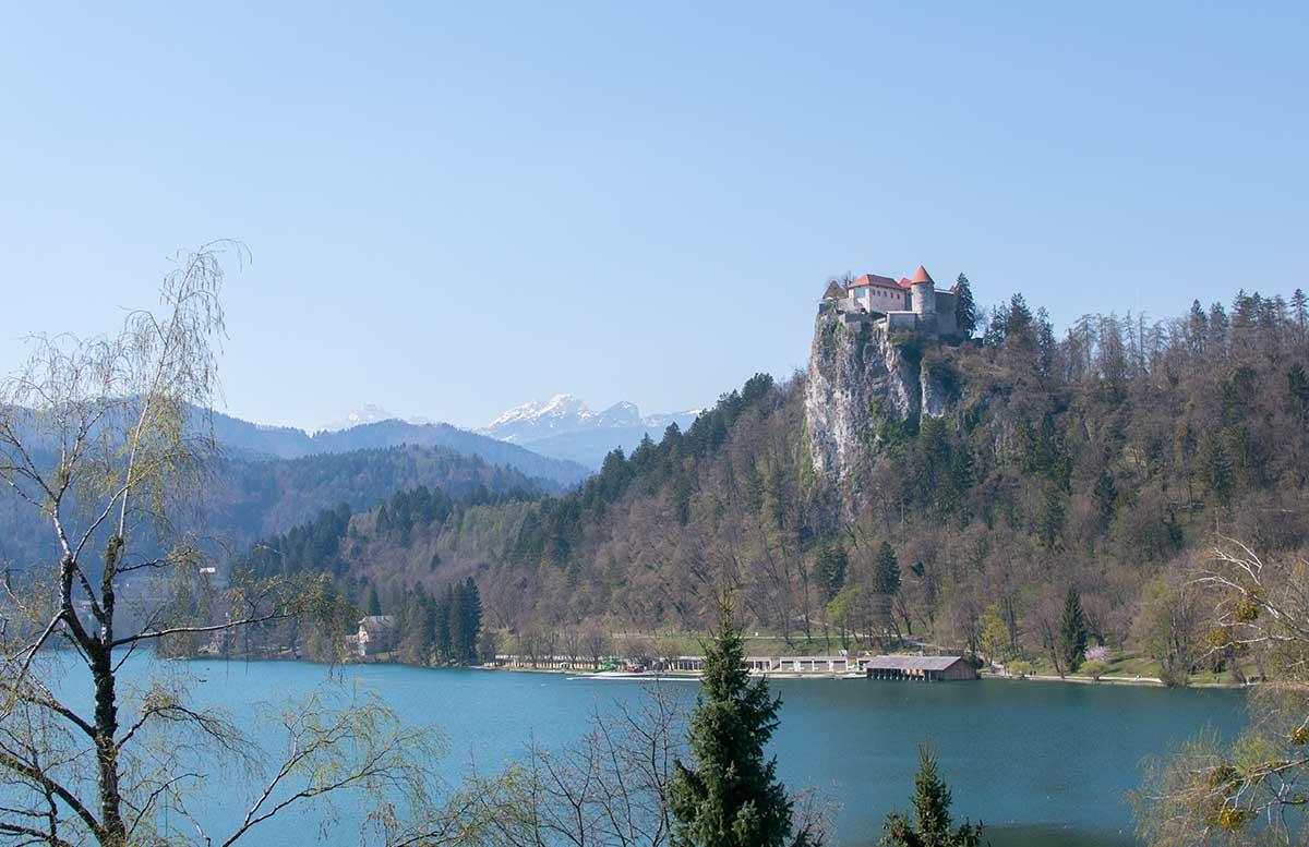 Ausflug zur Insel am See in Bled ausblick burg