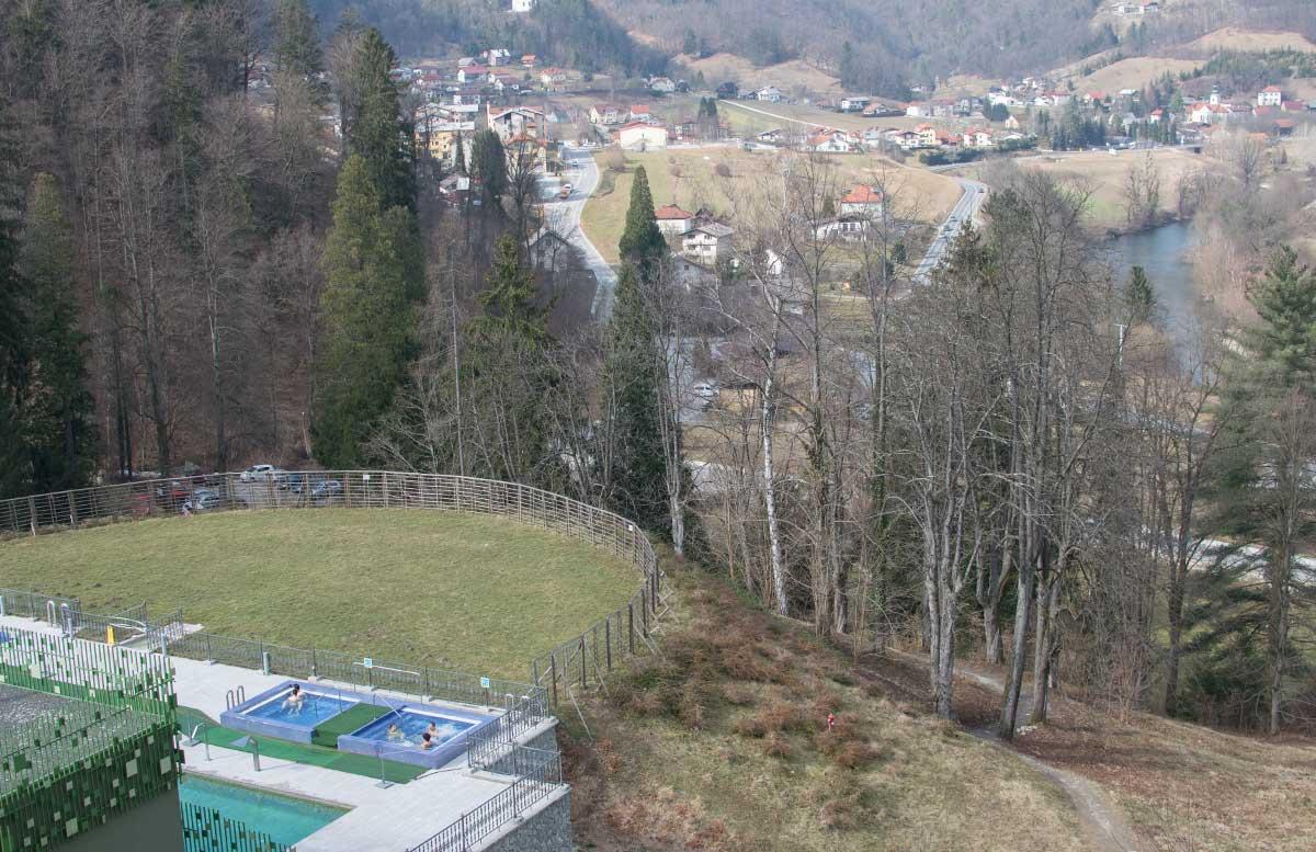 Die r  mische Therme Rimske Terme in Rimske Toplice aussicht zum outdoor pool