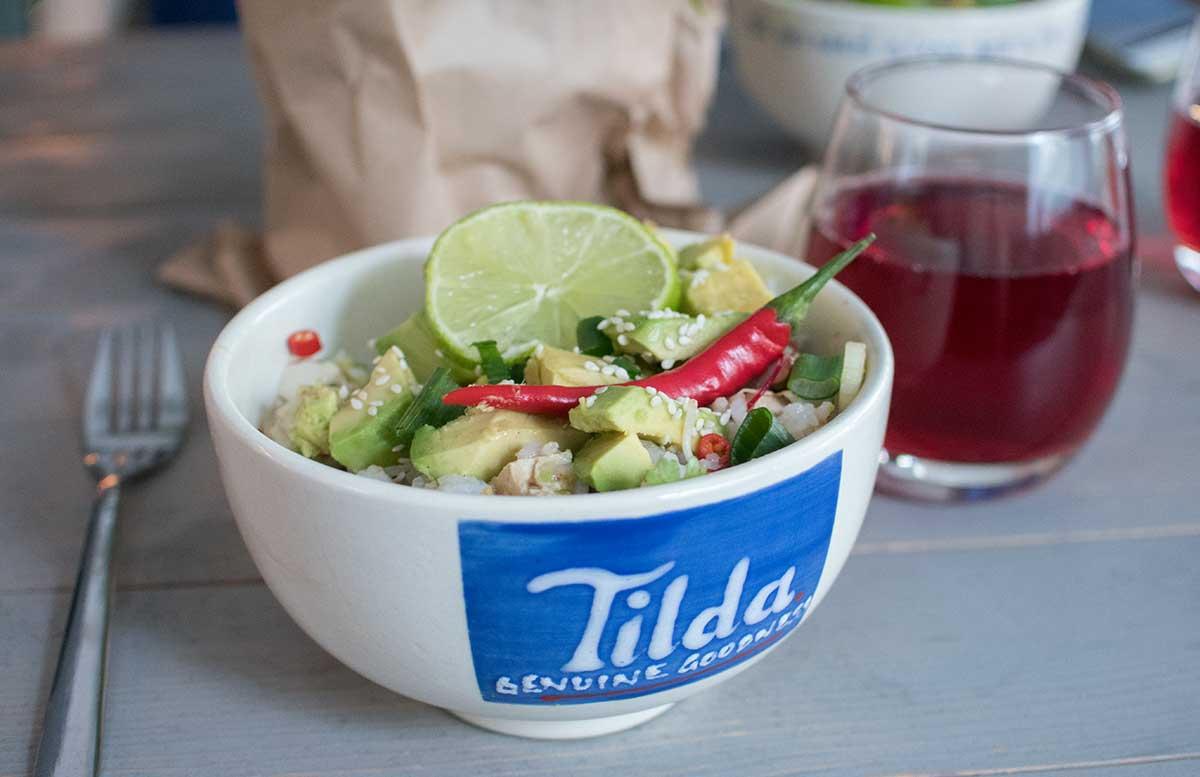 Einfache Bürorezepte Kochworkshop mit Tilda Basmatireis avocado tofu