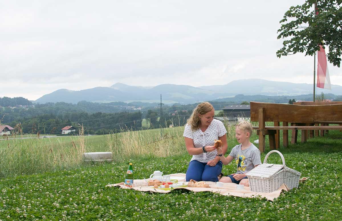 Hotel Gasthof Am Riedl in Koppl - der Riedlwirt frühstück im grünen picknick