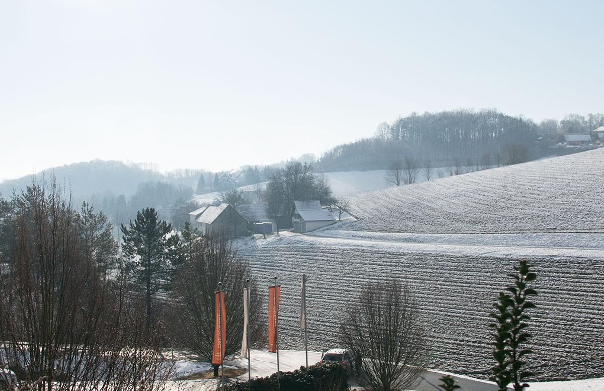 Thermenhotel DAS SONNREICH in Loipersdorf schlafzimmer blick balkon sicht winter