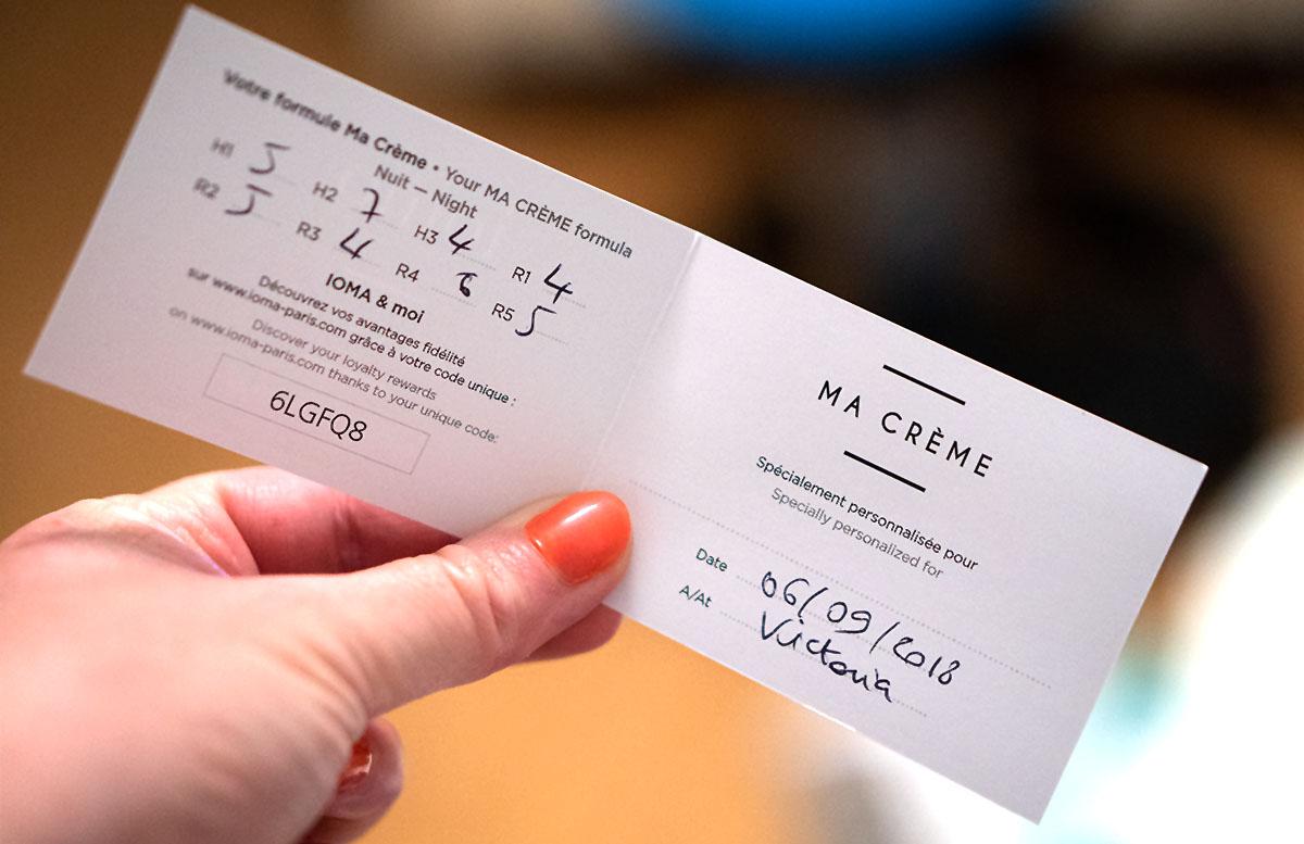 IOMA Ma Creme Night - die personalisierte Hautpflege hautanalyse persönlicher pass