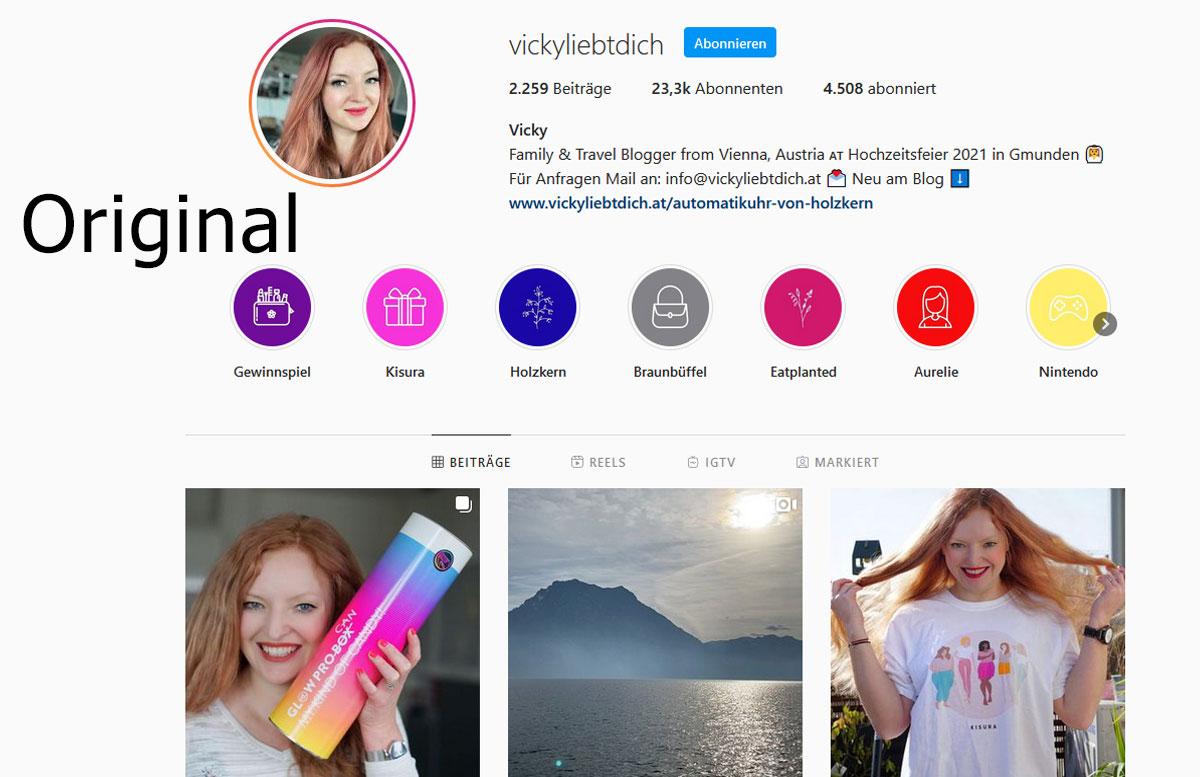 Fake Accounts und Fake Gewinnspiele auf Instagram Original