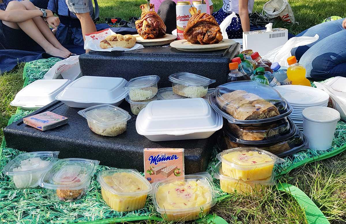 Picknick im Wiener Prater bei der Praterfee leckereien im prater