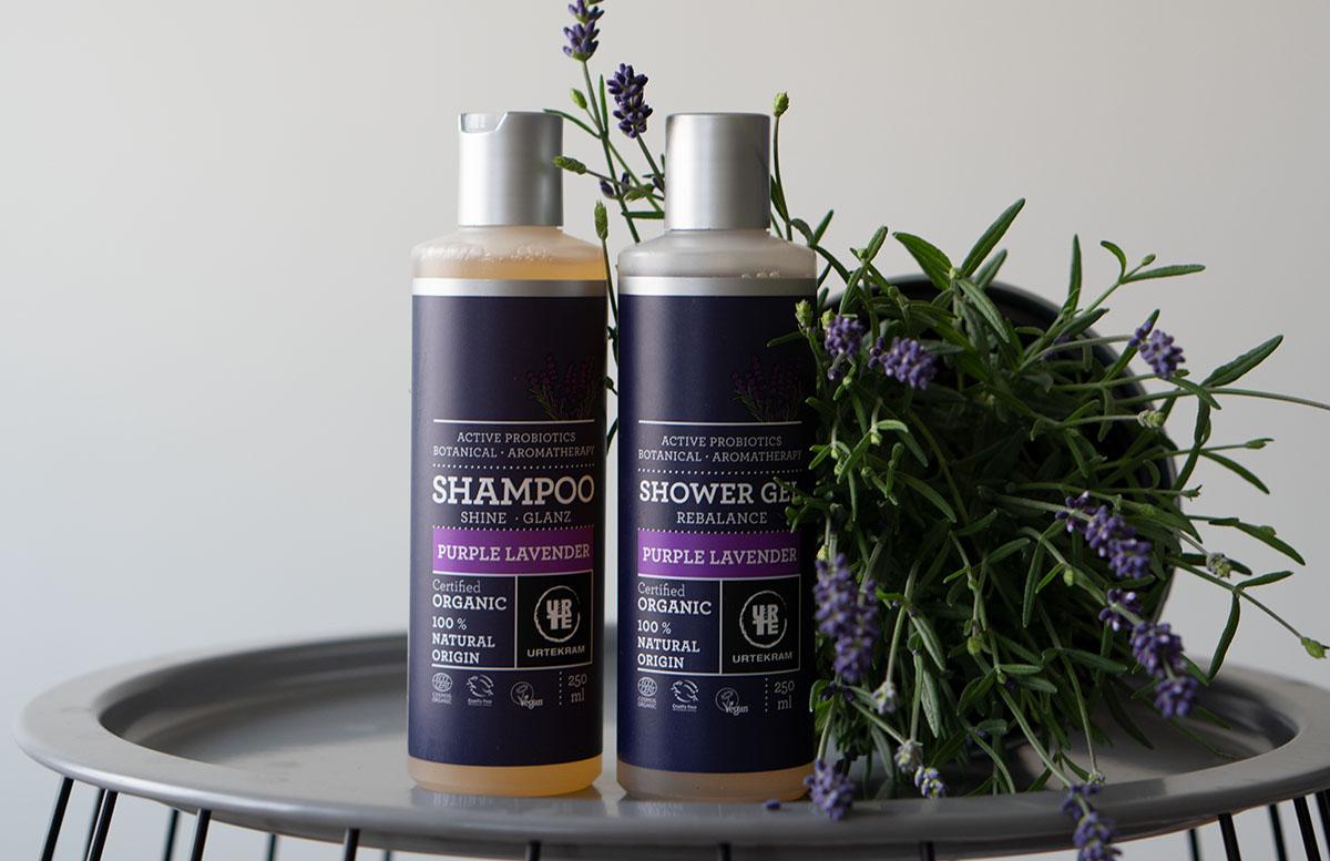 Urtekram Purple Lavender Bio Kosmetik Pflegelinie produkte shampoo und duschgel
