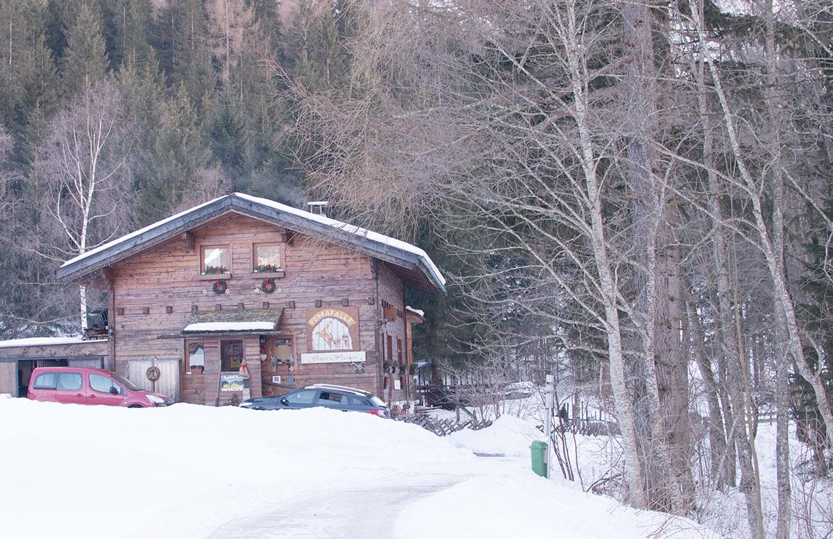 Wanderung-zur-Sattelbergalm-und-zum-Haubenlokal-Pumafalle-vor-dem-restaurant